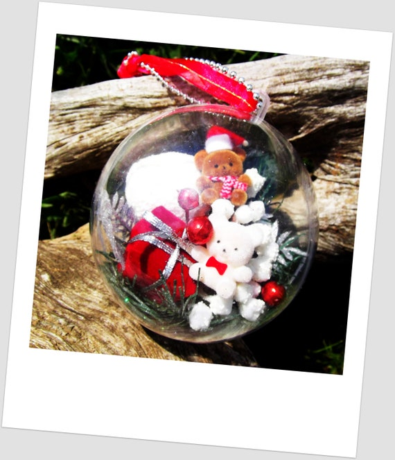 Hand Made Vintage Xmas Ornament with Vintage 1980 Flocked Teddy Bears and Gifts Supplies Inside Crystal Clear Plastic Christmas Ornament