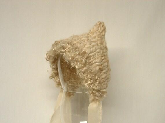 Pixie Bonnet Newborn Baby Hat Photography Prop Handspun Yarn cream tan