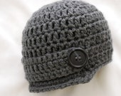 Baby Boy Newsboy Hat in Charcoal Gray, Baby Boy Clothes, Baby Boy Photo Prop, MADE TO ORDER
