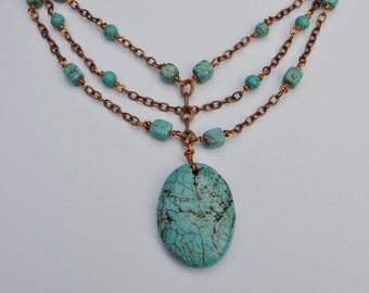 Turquoise Magnesite & Copper Chain Necklace