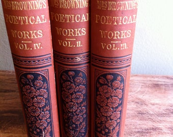 Set of Mrs. E B Browning Poetical Works 1877