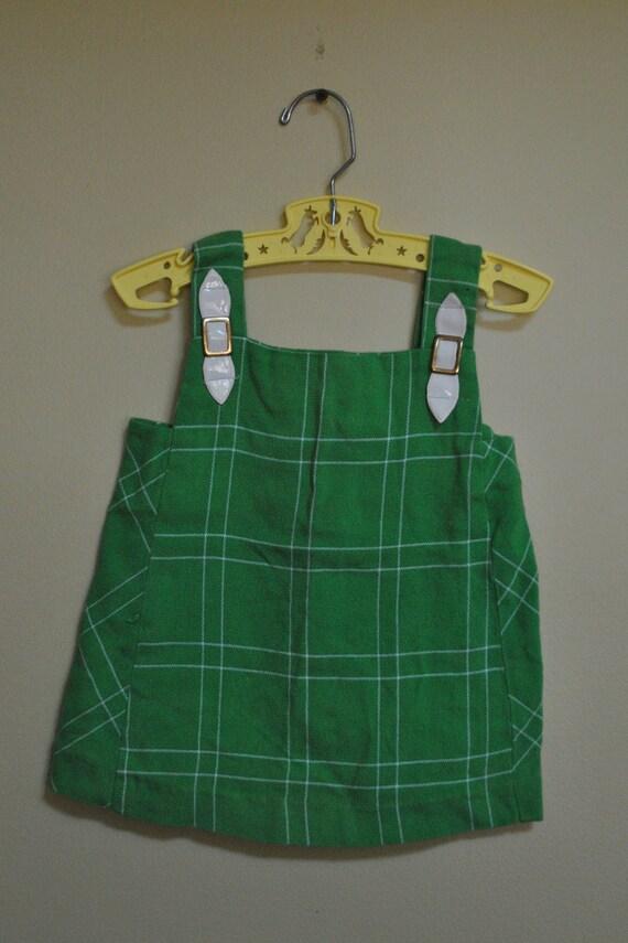 Vintage 1960s 70s Handmade BRADY BUNCH Green & White Tank Dress size 12-18M