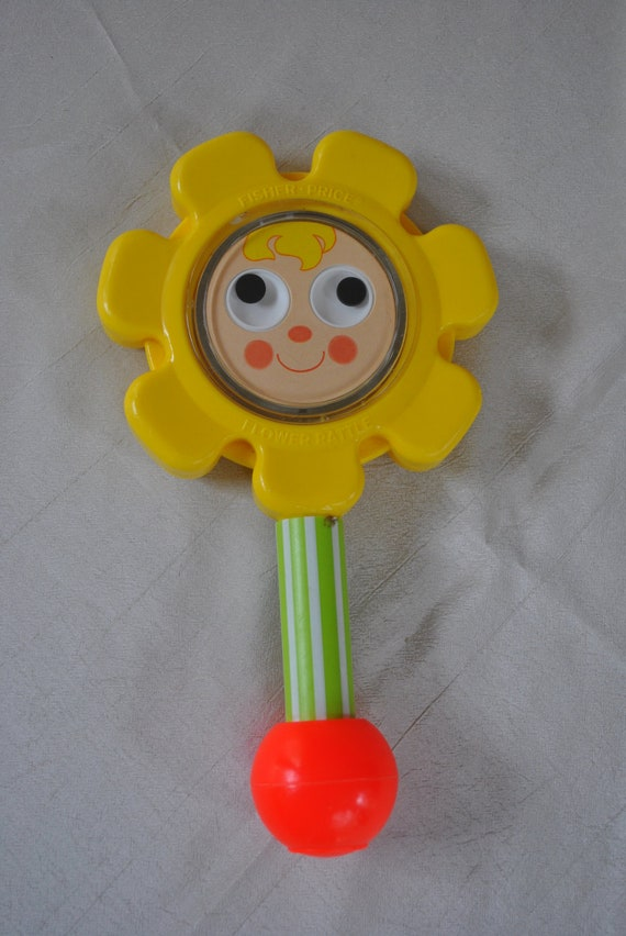 Vintage 1973 Fisher Price Baby Toy Flower Rattle