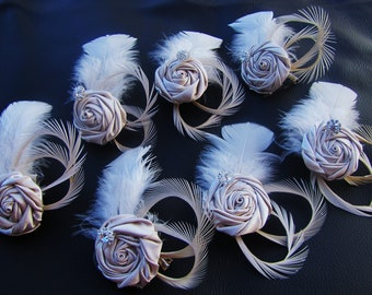 Set of 7 Bridesmaid hair pieces, Fascinators, wedding hair accessories, champagne rosettes with goose feathers, Gift for bridesmaids