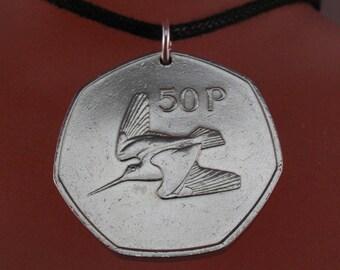 Bird Jewelry. IRELAND  NECKLACE. Woodcock . bird lover gift. birder.  harp pendant. music necklace. bird coin No.00730