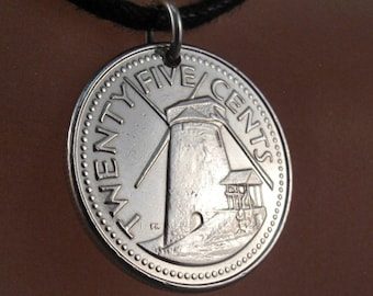 BARBADOS  necklace // Barbados jewelry // windmill Pendant. // coin jewelry // coin necklace  No.00252