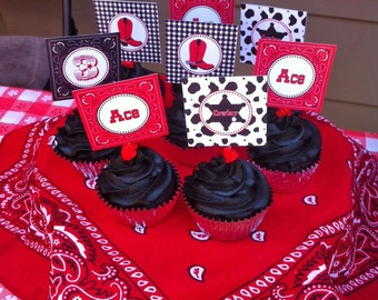 DIY  Cowboy Birthday Party PRINTABLE Cupcake Toppers favor tags baby shower red black bandana boots western