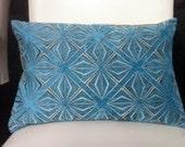 Decorative Pillow Cover - Cha Cha Print in Aqua - Fall Pillow - Blue Pillow - 12X18