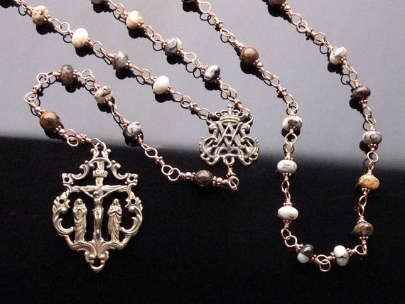 Bronze Wire Wrapped Rosary (Unbreakable): Brioche Agate