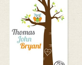 Personalized Name Owl or Bird Custom Nursery Print 8x10