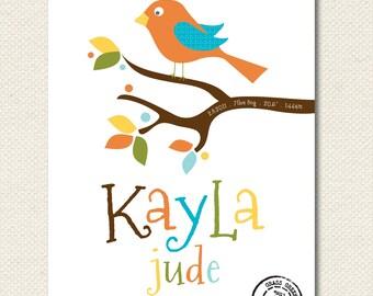 Personalized Name Baby Bird Custom Nursery Print 8x10