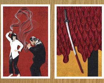 Quentin Tarantino film posters, Pulp Fiction movie poster, Kill Bill movie poster, Paper art print, quilling and etching illustration, print