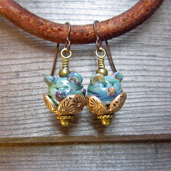 Lampwork earrings, Beaded bronze earrings, mouse earrings,  animal  earrings - Harvest Meeces