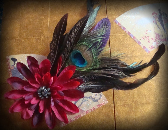Deepest Red Feather Hair Clip, Feather Fascinator