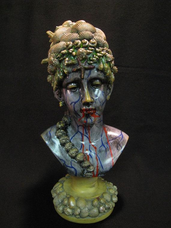 Mermaid, Zombie Figurine,Gothic Steam Punk , Halloween,Undead Sculpture FREE SHIPPING