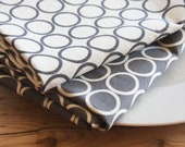 Fabric Napkin - Grey and White with circles - set of 2