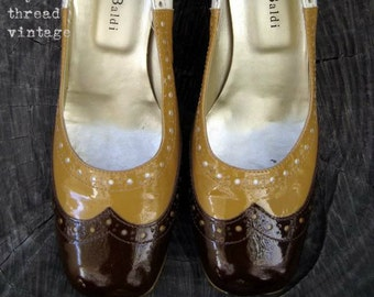 Vintage Mod Chocolate and Gold Patent Leather  Spectator Pumps by Massimo Baldi