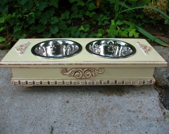 Elevated Dog Bowl or Cat Bowl Pet Feeder Creamy Lemon Cottage Chic Distressed, 2 One Quart Paw Print Stainless Bowls Made to Order