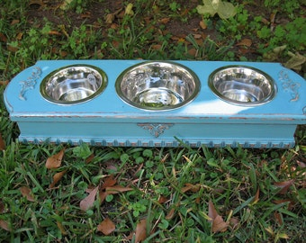 Elevated Dog Bowl Pet Feeder For Cats or Small Dogs - Turquoise Cottage ChicMade To Order