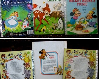 Lot of 3 Walt Disney's Vintage Books - Alice in Wonderland / Mickey Mouse's Picnic / Bambi Gets Lost