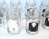 10 Mason Jar bridesmaid glasses, groomsman glasses.  Wedding party mason jars with dress and tux.  Maid of honor, best man, bride and groom