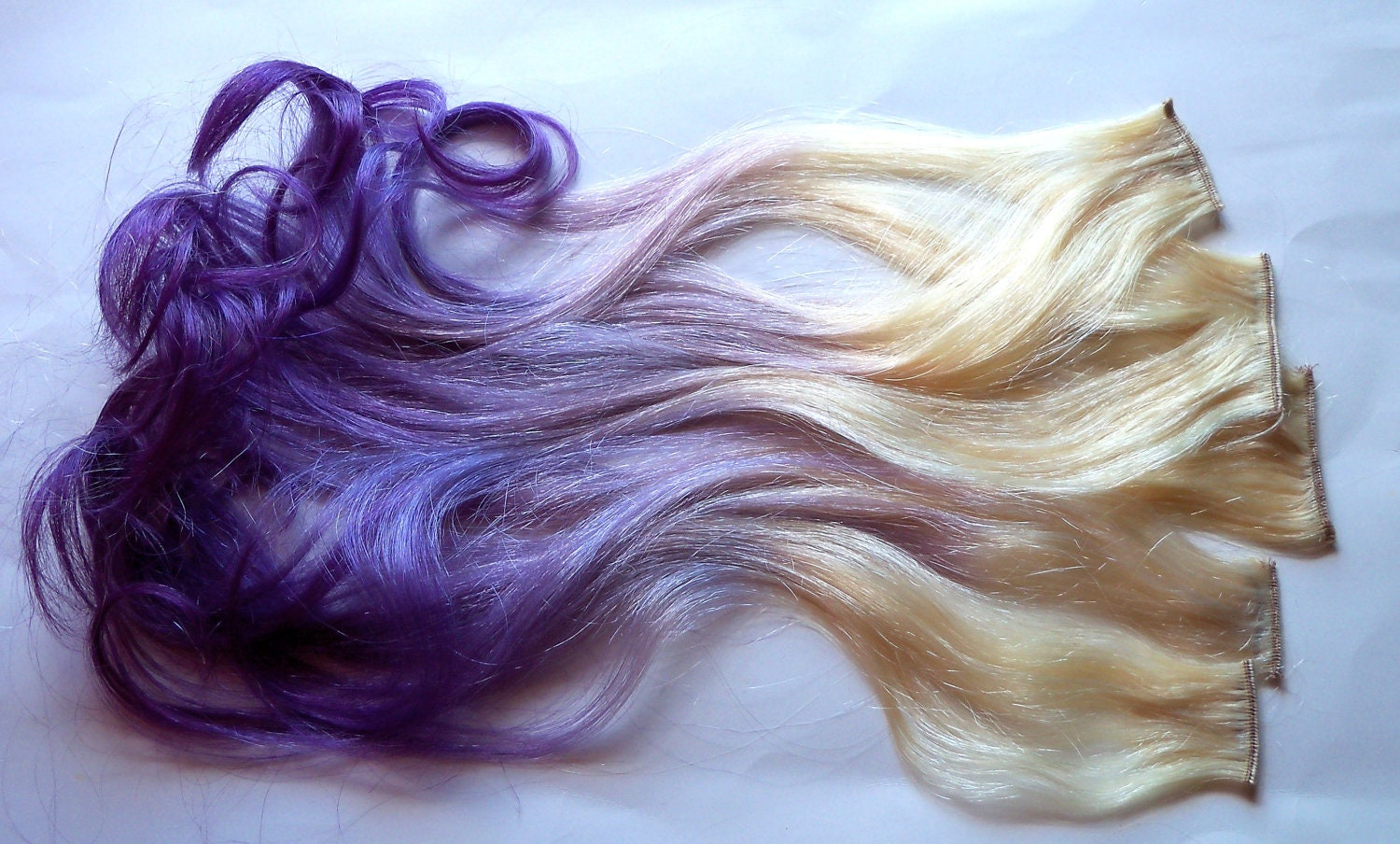 Purple and Blonde Ombre Fade Dip Dye Clip in Human Hair  Purple and Blon...