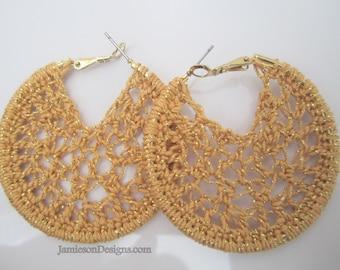 Glitter gold crochet hoop earrings - 2inch small
