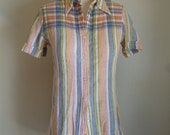 Preppy Pastel Stripped Button Up Shirt
