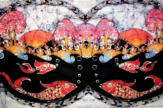Rainbow Fish - batik fabric swatches from original - Custom printed fabric from batik