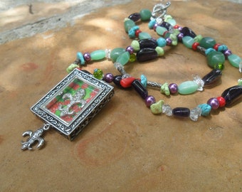 Multi color Bead Necklace with A French Fleur de Lis Pendant
