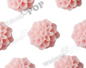 10 - Baby Pink Chrysanthemum Flower Resin Cabochons, Mum Shaped, Flower Cabochons, Chrysanthemum Cabochons, Flat Back, 13mm (R4-034)