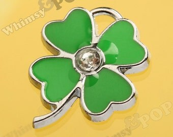 1 - 4 Leaf Clover Irish Green Clover Four Leaf Clover Rhinestone Enamel Charm, Clover Charm, Good Luck Charm (1-3J)