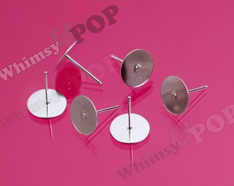 Earring Post Blanks and Findings with Rubber Stoppers, Earring Blanks, 10mm Glue Pad (R5-021,C1-01)