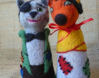 Needle felted Cat and Fox from Pinicchio