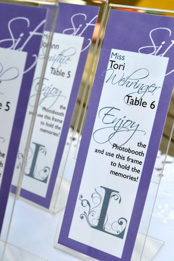 Personalized escort cards for photo booth frames wedding place for Personalized wedding place cards