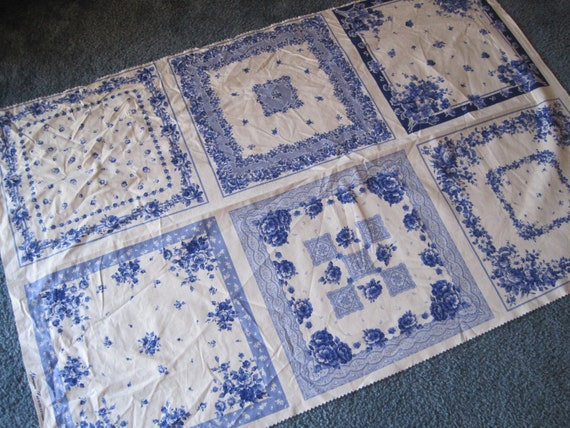 Quilt fabric scraps, panels...blue hankies, pillow tops