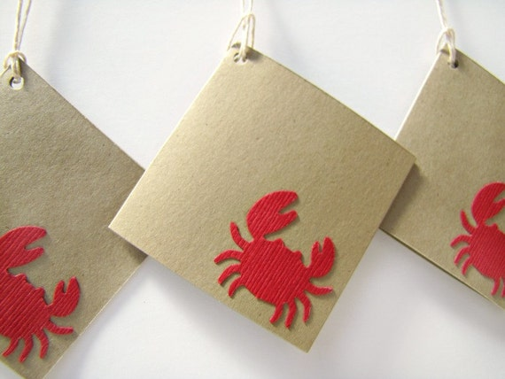 Nautical Wedding Gift Tags : Crab gift tags, nautical wedding tag, nautical favors, beach wedding ...