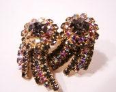 Vintage Hobe Earrings Smokey and Aurora Borealis Rhinestones E8943