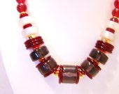 Monet Red, Mother of Pearl and Smokey Lucite Bead Necklace N3701