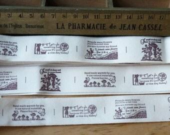 Retro Beige Children Garden Bag Purse Clothes - 4 Different Patterns - Handmade Fabric Tape Cotton Label Ribbon