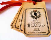Halloween - Vampire Blood Vintage Tags - Gothic Style with Orange Ribbon Set of 10