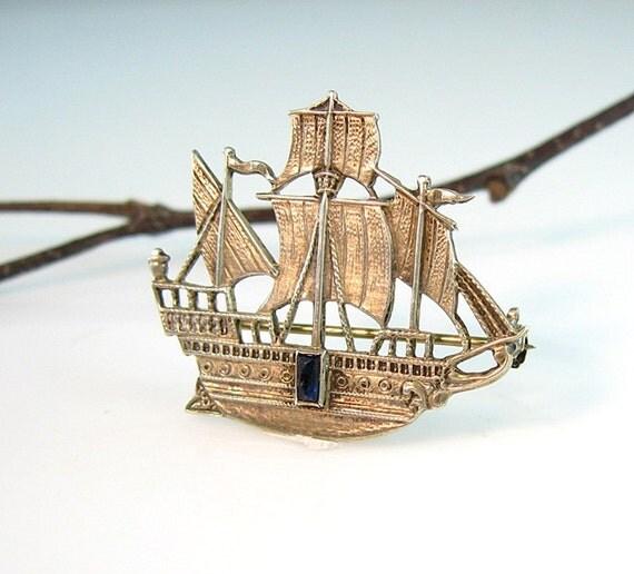 Art Deco Ship: Art Deco Sterling Ship Pin Columbus Three Mast By