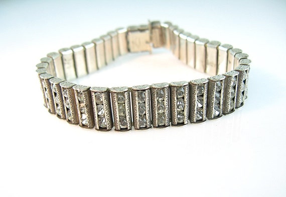 Art Deco Bracelet  Catamore Sterling Rhinestones Detailed Engraving 1940s Jewelry