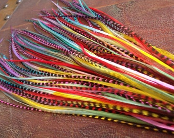 Bright Feather Hair Extensions Tie Dyed 14 Long Skinny Hair Feathers Rainbow Handmade Kit, Ombre Dipped Plumes for Feather Extensions