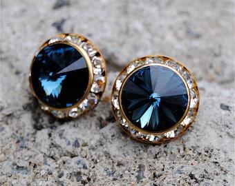 Navy Blue Swarovski Crystal Earrings Sugar Sparklers Medium Navy Blue Clear Diamond Crystal Rhinestone Stud Earrings Mashugana