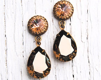 Peach Bronze Mist Earrings Swarovski Crystal Earrings Vintage Pear Drop Rhinestone Dangle Earrings Duchess Crown Mashugana