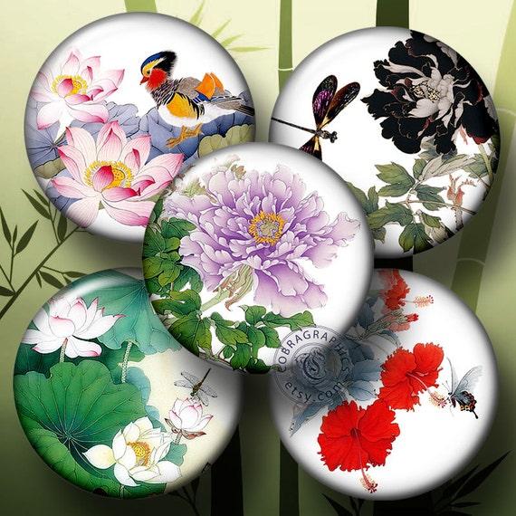 "Oriental Flower Designs - 1.5"", 1.25"", 30mm, 25mm, 1 inch circles - Digital Collage Sheets CG-561C for pendants, bottle caps, crafts"