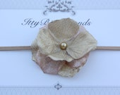 Gold Flower w/ Pearl Center on Beige Stretch Headband Hairband for Infant, Newborn, Toddler, Adult Bow Photo Prop Holidays Christmas