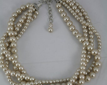 Statement pearl necklace in Champagne multi strand, wedding, bridesmaid necklace