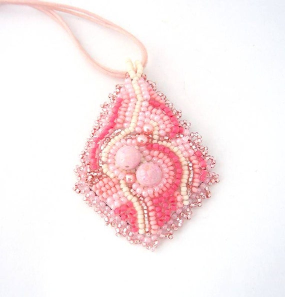 Beaded jewelry,  Beadwork necklace, Bead embroidered pendant, pink pendant, handmade necklace, cheerful, abstract, spring